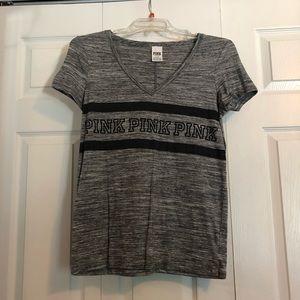 VS PINK: Heathered Gray V-neck T-shirt